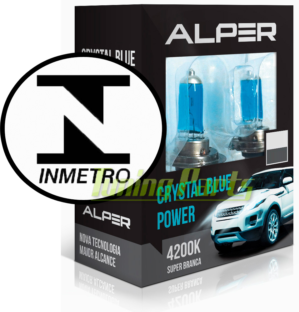 Lâmpada Super Branca com Inmetro - Alper Crystal Blue Power H1