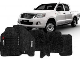 Tapete Carpete Hilux CD 13- Preto 5 pçs + Trava