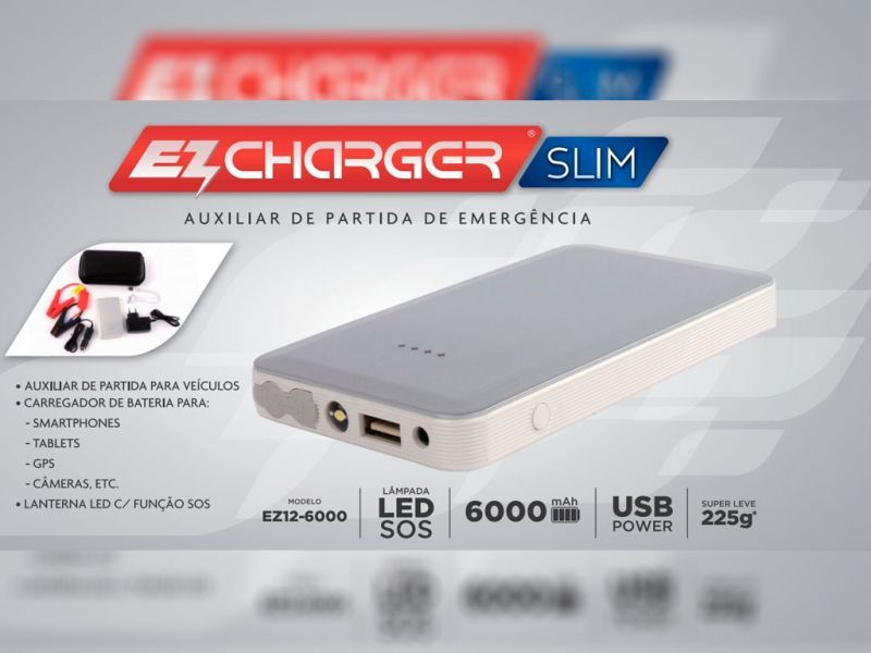 Caixa do Auxiliar de Partida de Emergência EZCharger Slim 6000 mAh 12v