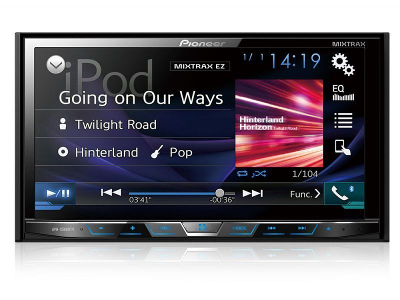 Tela com música do Ipod no DVD Pioneer AVH-X598TV com Interface Android Waze e Spotify