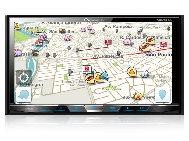 Waze funcionando no DVD Pioneer AVH-X598TV com Interface Android Waze e Spotify